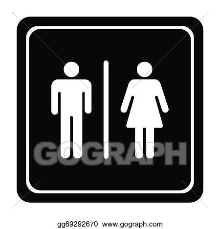 . EPS Illustration   Restroom signs for men and women  Vector Clipart