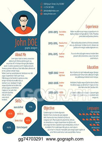 Eps Illustration Resume Cv Template With Photo And Details