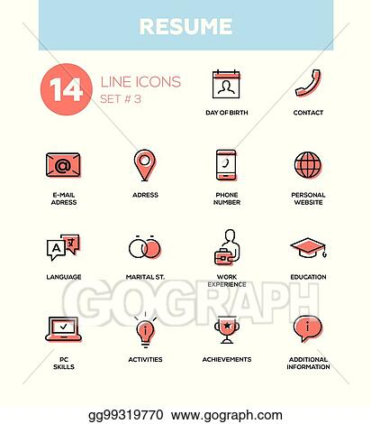 Eps Vector Resume Modern Simple Thin Line Design Icons