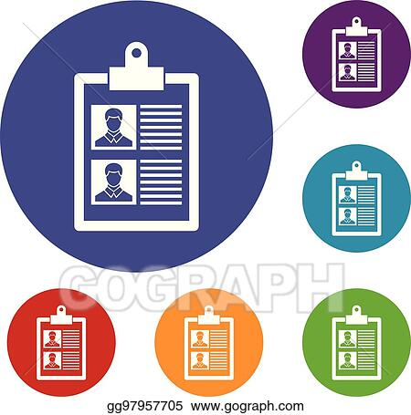 Vector Art Resume Of Two Candidates Icons Set Eps Clipart