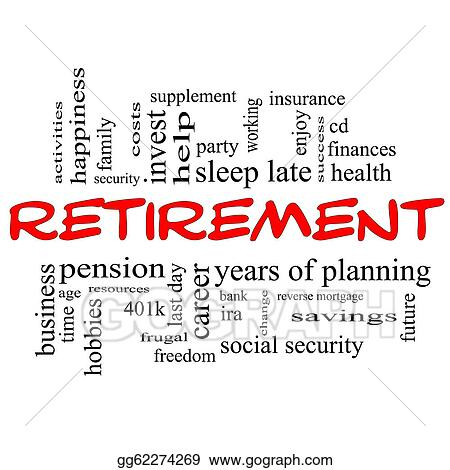stock illustration retirement word cloud concept in red black
