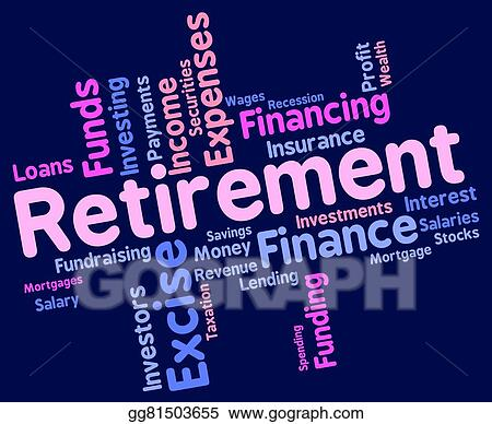 stock illustrations retirement word indicates finish working and