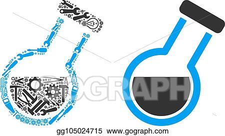 Vector Clipart Retort Mosaic Of Service Tools Vector Illustration