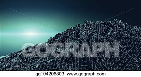 Vector Illustration Retro Background Futuristic Landscape 1980s