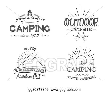 Camping Emblems And Travel Insignia Monochrome Vintage Design Family Canoe Campsite Equipment Shop Etc Vector Illustration Clipart Drawing