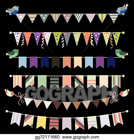 Vector Stock Retro Bunting And Garland Set Vector Template For