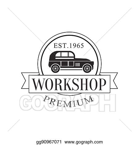 Vector Illustration - Retro car repair workshop black and white ...
