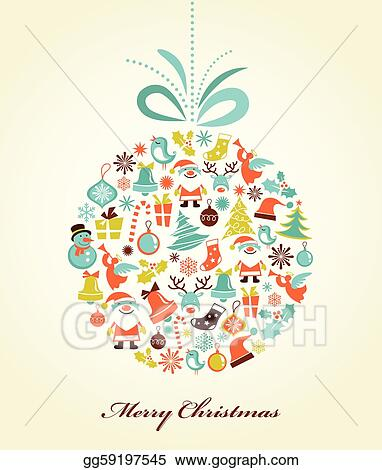Vector Clipart - Retro christmas background with the xmas ball ... on
