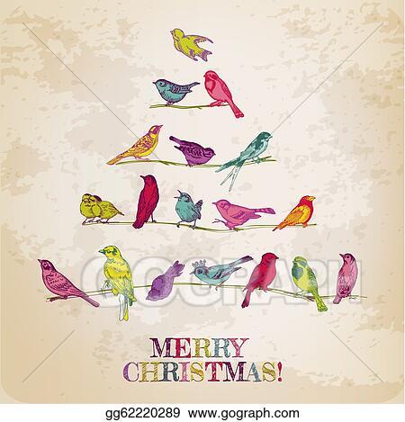 Vector clipart retro christmas card birds on christmas tree retro christmas card birds on christmas tree for invitation congratulation in vector stopboris Images