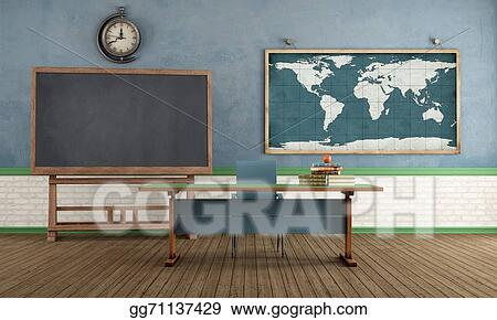 Stock illustration retro classroom without student stock art stock illustration vintage classroom with blackboard teachers desk and world map on wall rendering stock art illustrations gg71137429 gumiabroncs Image collections