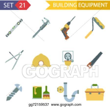 Clip Art Vector - Retro flat building equipment icons and