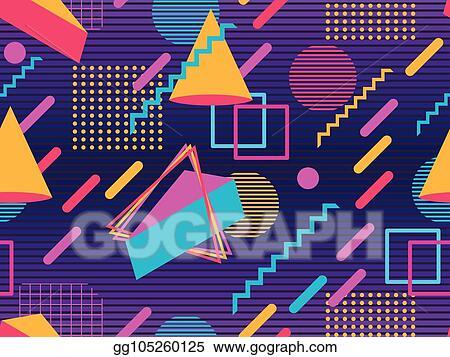 EPS Vector - Retro futurism seamless pattern  geometric elements