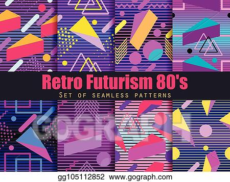 Clip Art Vector - Retro futurism seamless pattern set  geometric