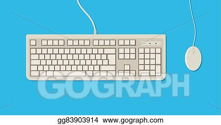 Vector Art - Retro keyboard and mouse   Clipart Drawing