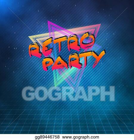 Vector Clipart - Retro party 1980 neon poster  retro disco