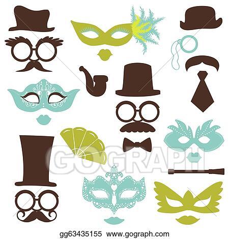 clip art vector retro party set glasses hats lips mustaches