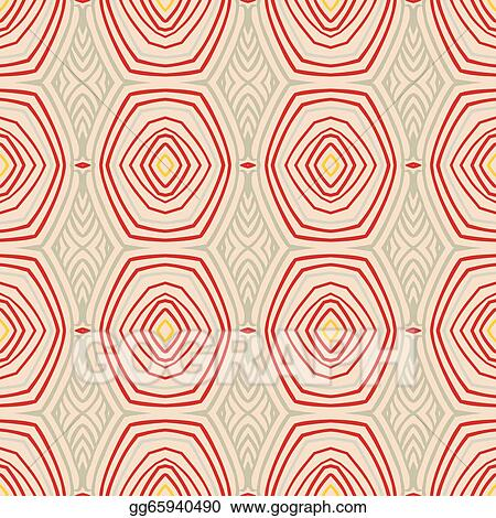 Vector Art Retro Pattern With Oval Shapes In 1950s Style
