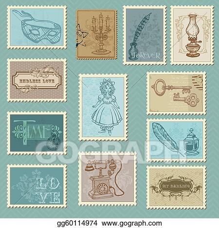 Clip Art Vector Retro Postage Stamps For Wedding Design
