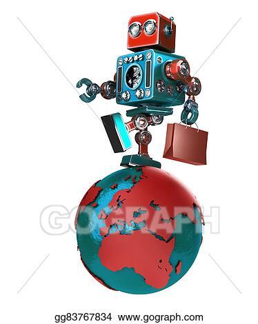 Stock Illustration - Retro robot with shopping bag walking