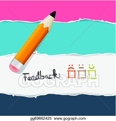 eps illustration retro torn paper feedback background with pencil rh gograph com torn paper clipart free