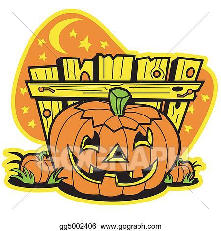 Halloween Vintage Clipart.Vector Art Retro Vintage Halloween Pumpkin Eps Clipart Gg5002406