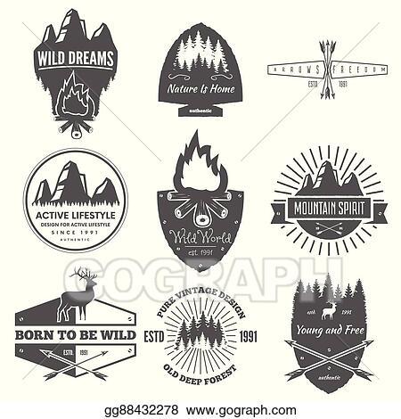 e78ff1acd03 Vector Stock - Retro vintage logotypes or insignias set. vector ...