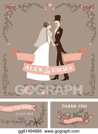 Vector Illustration Retro Wedding Invitation Set Bride Groom