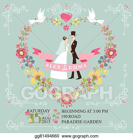 Retro Wedding InvitationBride Groomfloral Wreathborders