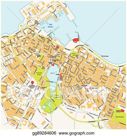 Vector Illustration - Reykjavik city map with road names iceland ...