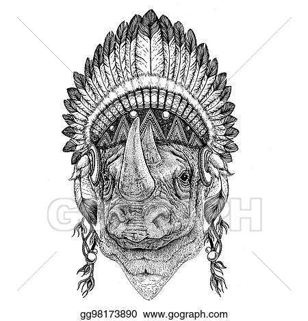 Drawings - Rhinoceros, rhino hand drawn illustration for