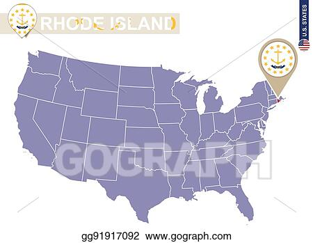 Clip Art Vector - Rhode island state on usa map. rhode ...
