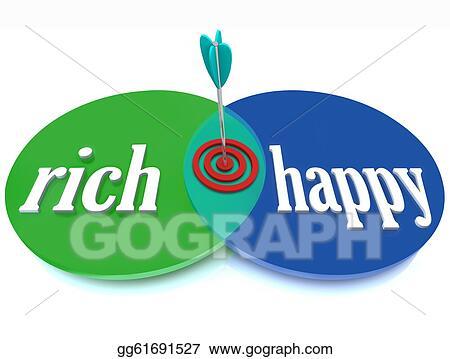 Stock Illustration Rich Happy Venn Diagram Success Goal Of Wealth