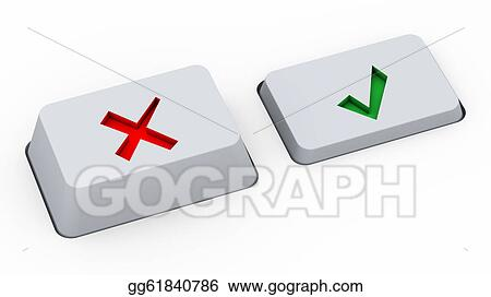 Drawings Right Wrong Choice Buttons Stock Illustration