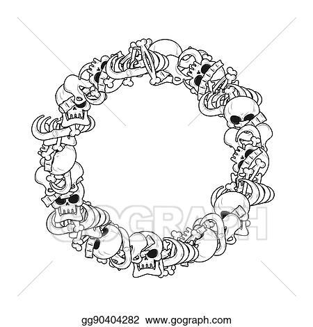Vector Illustration Ring Frame Of Bones Anatomy Background