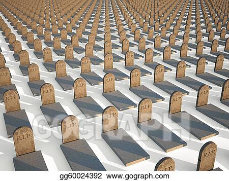 Drawings - Rip grave 3d cg churchyard  Stock Illustration