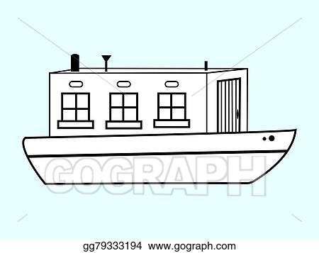 Vector Illustration - River white house water transport  EPS