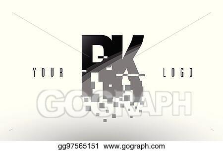 EPS Illustration - Rk r k pixel letter logo with digital