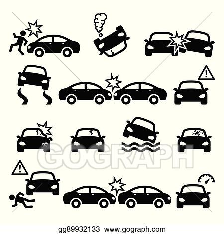 Vector Art - Road accident, car crash, personal injury vector icons ...