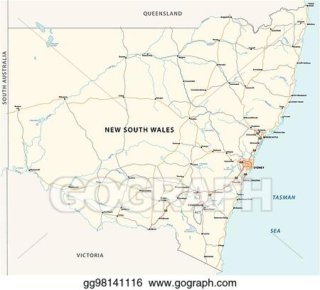 Road Map Australia.Eps Vector Road Map Of The Australian State New South Wales Map