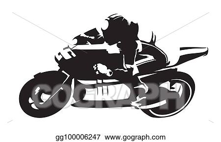 Eps Illustration Road Motorcycle Rider Abstract Vector Silhouette