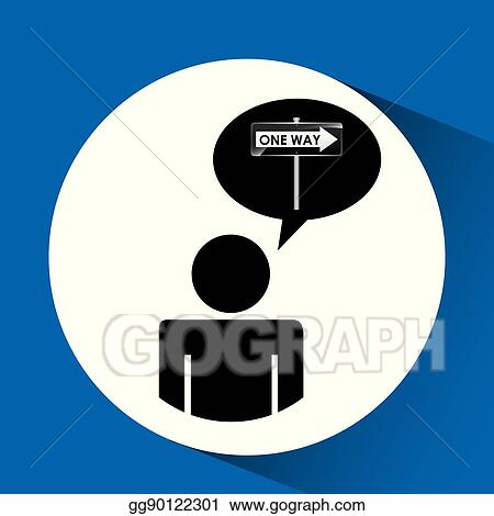 Eps Vector Road Sign One Way Silhouette Man Stock Clipart