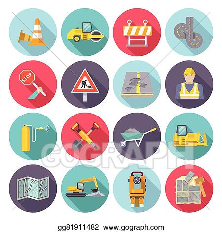 Vector Illustration Road Worker Flat Icons Stock Clip Art
