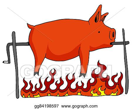 vector clipart roasted pig on a spit vector illustration rh gograph com pig roast clip art pictures pig roast clip art pictures