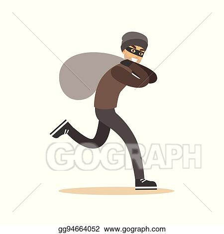 e0411dd53dc Robber in mask running with huge sack. Colorful cartoon character vector  Illustration