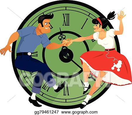 vector illustration rock around the clock eps clipart gg79461247 rh gograph com free 1950's clip art images 1950s clip art free