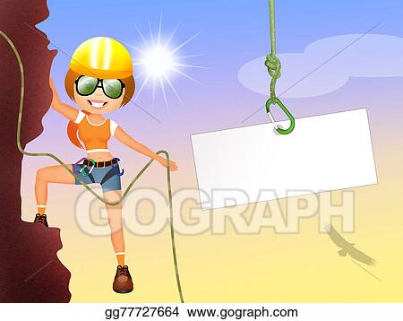 drawing rock climbing girl clipart drawing gg77727664 gograph rh gograph com Rock Climbing Clip Art Black and White Mountain Climber Clip Art