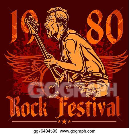 Vector Art Rock Concert Poster 1980s Vector Illustration Eps