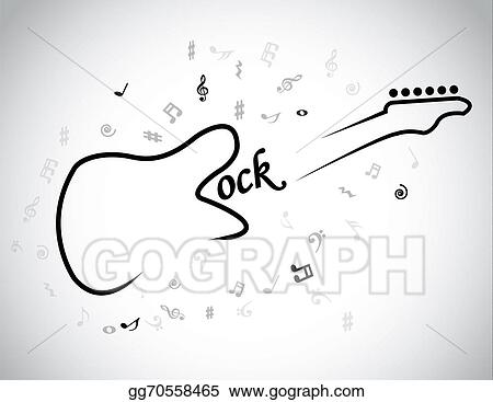 Rock Music Electric Guitar Musical Notes Concept Red Heart An Electrical Symbol With