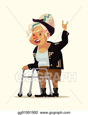 Vector Illustration Rock Style Grandma Character Vector Flat