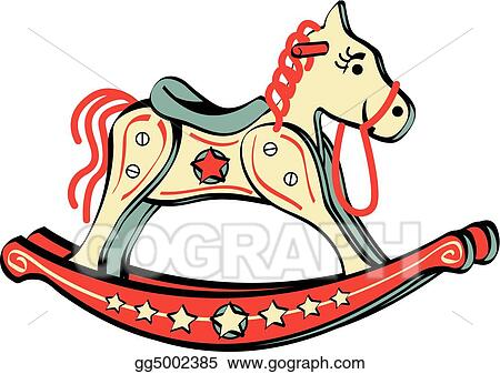 vector illustration rocking horse riding toy clip art eps clipart rh gograph com christmas rocking horse clipart rocking horse clipart black and white